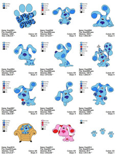BLUE CLUES CARTOON CHARACTERS EMBROIDERY DESIGNS