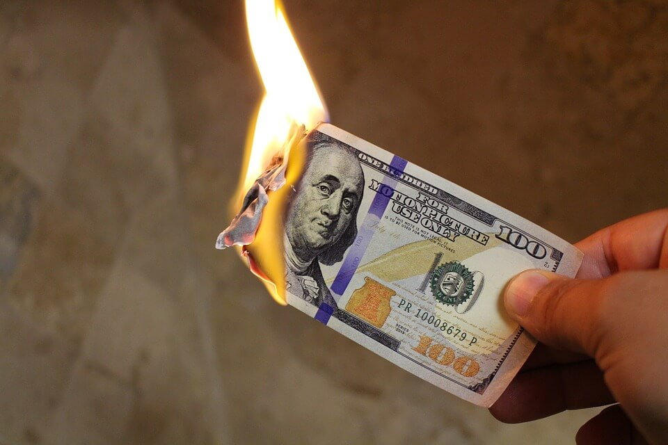 burning money and wasting cash
