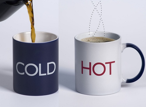 cold and hot mug