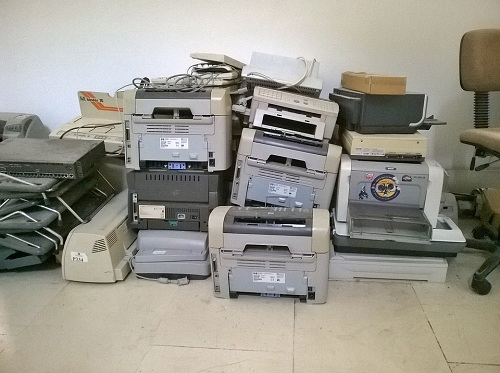 stack of wired printers