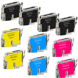10 Pack - Remanufactured replacement for Epson T032 and T042 series ink cartridges