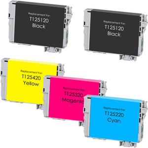 Epson T125 Black and Color Set 5-pack replacement