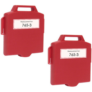 Pitney-Bowes 765-3 fluorescent red ink cartridge - 2 Pack