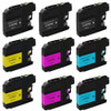 9 Pack - ink cartridge replacement for Brother LC207 Black and LC205 Color set