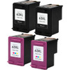 HP 63XL black and color ink cartridges remanufactured replacement 4-Pack