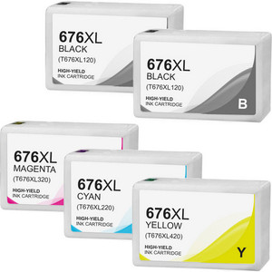 Epson T676XL Ink Cartridge Set, High Yield, 5 pack