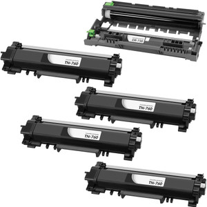5 Pack - Compatible Brother TN760 High Yield Toner Cartridge and DR730 Drum Unit