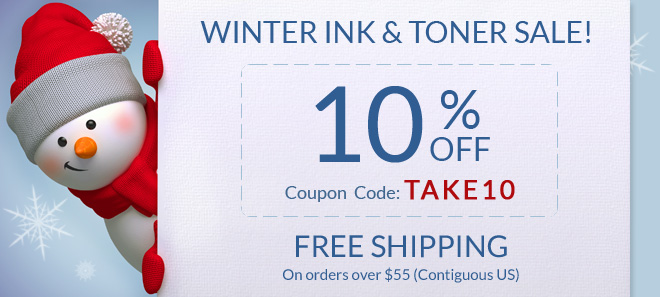 Winter sale on printer ink and toner + free shipping offer