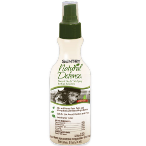Sentry Natural Defense Natural Flea And Tick Spray For Cats And Kittens 8oz