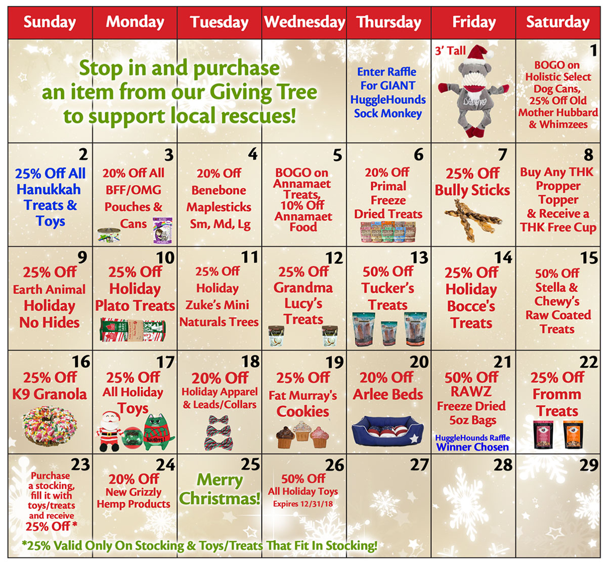 25 Days of Holiday Savings Calendar