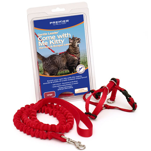 Premier Come With Me Kitty Harness And Bungee Leash Large Red