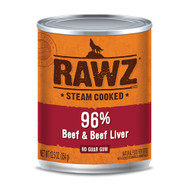RAWZ 96% Beef and Beef Liver Case of Canned Dog Food