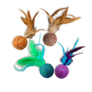 SPOT Wuggles Wool Ball with Feathers Cat Toy
