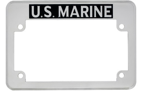 us marine chrome motorcycle military license plate frame - Military License Plate Frames