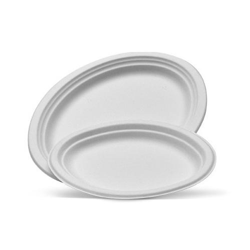 White Sugarcane Oval Plates (medium)