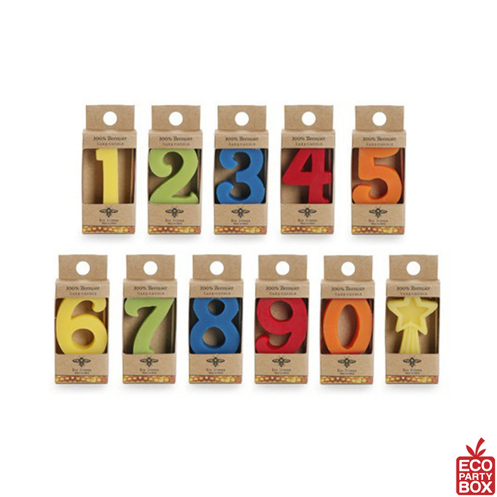 Fun, colorful, 100% pure beeswax Birthday Number Candles are a great topper for the special birthday boy or girl's cake!
