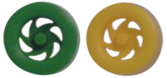 Front Wheel with End Cap, Green/Yellow Colors