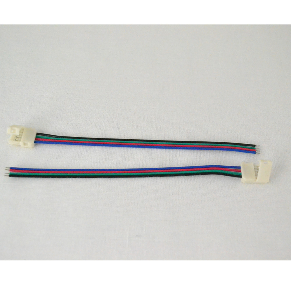 Crimp on wire connector for multi-color (RGB) LED strips