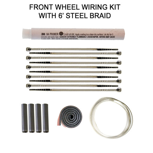 Front Wheel Wiring Kit with 6' Steel Braid