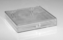 "Clear Plastic Hinged Lid Box - 3-1/16"" x 3-1/16"" x 1/2"""