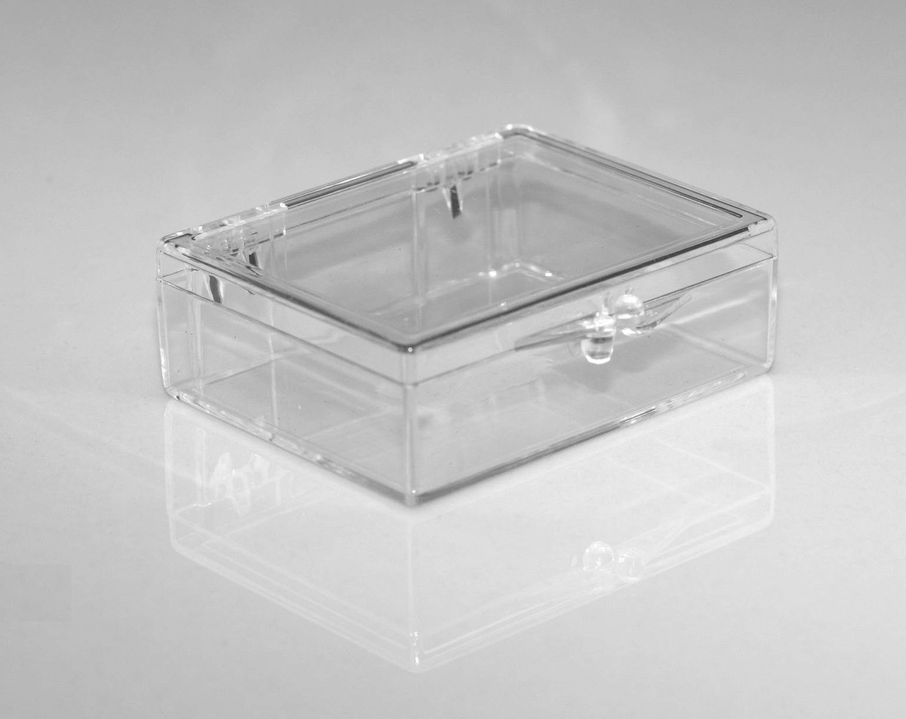 2 1 8 X 1 5 8 X 5 8 Small Plastic Box With Hinged Lid 210