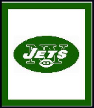 """NY Jets Logo Crochet Graph Afghan Pattern.  All done in single crochet, changing colors as you go along.  Drop one color, pull in the next.  Medium ability.  Size works up to be approx. 50 x 70"""".  Graph is 102 stitches wide by 142 stitches high.  Then you crochet 22 rows around the outside edge including a border, if you would like it larger.  Complete instructions are included, a full size graph, and a Helpful Hints page. DOWNLOADABLE."""