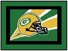 """Green Bay Packers Flag Crochet Graph Afghan Pattern.  All done in single crochet, changing colors as you go along.  Drop one color, pull in the next.  Medium ability.  Size works up to be approx. 50 x 70"""".  Graph is 120 stitches wide by 160 stitches high.  Then you crochet 22 rows around the outside edge including a border, if you would like it larger.  Complete instructions are included, a full size graph, and a Helpful Hints page. DOWNLOADABLE"""