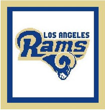 """Los Angeles Rams Logo Crochet Graph Afghan Pattern.  All done in single crochet, changing colors as you go along.  Drop one color, pull in the next.  Medium ability.  Size works up to be approx. 50 x 70"""".  Graph is 110 stitches wide by 150 stitches high.  Then you crochet 22 rows around the outside edge including a border, if you would like it larger.  Complete instructions are included, a full size graph, and a Helpful Hints page. DOWNLOAD WILL BE SENT TO YOU WITH ORDER CONFIRMATION."""