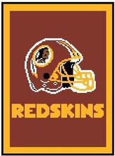 """Washington Redskins NEW Crochet Graph Afghan Pattern.  All done in single crochet, changing colors as you go along.  Drop one color, pull in the next.  Medium ability.  Size works up to be approx. 50 x 70"""".  Graph is 100 stitches wide by 140 stitches high.  Then you crochet 22 rows around the outside edge including a border, if you would like it larger.  Complete instructions are included, a full size graph, and a Helpful Hints page. DOWNLOAD WILL BE EMAILED TO YOU WITHIN 20 MINUTES OF ORDER.  Just click on """"Download Files"""".  OR EMAIL ME IF YOU WANT IT MAILED TO YOU INSTEAD.  ENJOY!"""