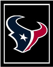 """Houston Texans Logo Crochet Graph Afghan Pattern.  All done in single crochet, changing colors as you go along.  Drop one color, pull in the next.  Medium ability.  Size works up to be approx. 50 x 70"""".  Graph is 100 stitches wide by 140 stitches high.  Then you crochet 22 rows around the outside edge including a border, if you would like it larger.  Complete instructions are included, a full size graph, and a Helpful Hints page."""