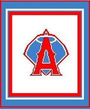 """Anaheim Angels Logo Crochet Graph Afghan Pattern.  All done in single crochet, changing colors as you go along.  Drop one color, pull in the next.  Medium ability.  Size works up to be approx. 50 x 70"""".  Graph is 72 stitches wide by 112 stitches high.  Then you crochet 22 rows (or more) around the outside edge including a border, if you would like it larger.  Complete instructions are included, a full size graph, and a Helpful Hints page."""