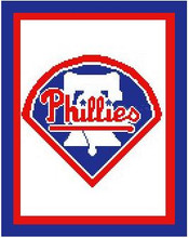 """Philadelphia Phillies Logo Crochet Graph Afghan Pattern.  All done in single crochet, changing colors as you go along.  Drop one color, pull in the next.  Medium ability.  Size works up to be approx. 50 x 70"""".  Graph is 100 stitches wide by 140 stitches high.  Then you crochet 22 rows (or more) around the outside edge including a border, if you would like it larger.  Complete instructions are included, a full size graph, and a Helpful Hints page. DOWNLOADABLE WITH ORDER CONFIRMATION OR IF YOU WANT IT MAILED, SEND ME AN EMAIL."""