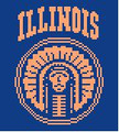 "Illinois College Logo Crochet Graph Afghan Pattern.  All done in single crochet, changing colors as you go along.  Drop one color, pull in the next.  Medium ability.  Size works up to be approx. 50 x 70"".  Graph is 72 stitches wide by 112 stitches high.  Then you crochet 22 rows (or more) around the outside edge including a border, if you would like it larger.  Complete instructions are included, a full size graph, and a Helpful Hints page."