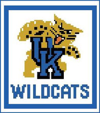 """University of Kentucky Logo Crochet Graph Afghan Pattern.  All done in single crochet, changing colors as you go along.  Drop one color, pull in the next.  Medium ability.  Size works up to be approx. 50 x 70"""".  Graph is 64 stitches wide by 104 stitches high.  Then you crochet 22 rows (or more) around the outside edge including a border, if you would like it larger.  Complete instructions are included, a full size graph, and a Helpful Hints page. DOWNLOADABLE"""