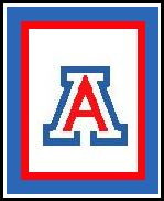 """Arizona University Logo Crochet Graph Afghan Pattern.  All done in single crochet, changing colors as you go along.  Drop one color, pull in the next.  Medium ability.  Size works up to be approx. 50 x 70"""".  Graph is 99 stitches wide by 139 stitches high.  Then you crochet 22 rows (or more) around the outside edge including a border, if you would like it larger.  Complete instructions are included, a full size graph, and a Helpful Hints page. DOWNLOADABLE WITH ORDER CONFIRMATION OR IF YOU'D RATHER HAVE IT MAILED TO YOU, EMAIL ME."""