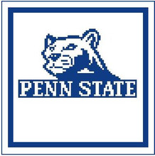 """Penn State Logo Crochet Graph Afghan Pattern.  All done in single crochet, changing colors as you go along.  Drop one color, pull in the next.  Medium ability.  Size works up to be approx. 50 x 70"""".  Graph is 100 stitches wide by 140 stitches high.  Then you crochet 22 rows (or more) around the outside edge including a border, if you would like it larger.  Complete instructions are included, a full size graph, and a Helpful Hints page. DOWNLOADABLE."""