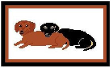 """Dachshund Pals Crochet Afghan Graph Pattern.  All done in single crochet, changing colors as you go along.  Drop one color, pull in the next.  Medium ability.  Size works up to be approx. 40 x 60"""".  Graph is 113 stitches wide by 153 stitches high.  Then you crochet 22 rows (or more) around the outside edge including a border.  Complete instructions are included, a full size graph, and a Helpful Hints page. Download will be emailed to you within 20 minutes of ordering.  Just click """"download files"""" on your Confirmation.  OR, if you'd rather have it Mailed to you, let me know.  Enjoy!"""