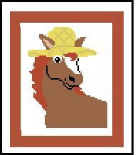 """Horse with Hat Crochet Afghan Graph Pattern.  All done in single crochet, changing colors as you go along.  Drop one color, pull in the next.  Medium ability.  Size works up to be approx. 50 x 70"""".  Graph is 64 stitches wide by 104 stitches high.  Then you crochet 22 rows (or more) around the outside edge including a border.  Complete instructions are included, a full size graph, and a Helpful Hints page."""