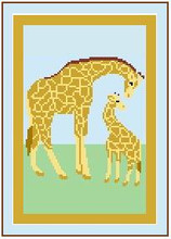 """Giraffes, Mother & Baby Crochet Afghan Graph Pattern.  All done in single crochet, changing colors as you go along.  Drop one color, pull in the next.  Medium ability.  Size works up to be approx. 50 x 70"""".  Graph is 74 stitches wide by 114 stitches high.  Then you crochet 22 rows (or more) around the outside edge including a border.  Complete instructions are included, a full size graph, and a Helpful Hints page which are available to DOWNLOAD from your Confirmation or can be MAILED if you mention it with order. Enjoy!"""