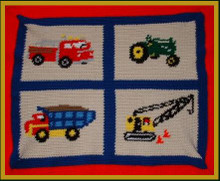 "Trucks and Tractors Crochet Afghan Graph Pattern.   All done in single crochet, changing colors as you go along.  Trucks and Tractors Crochet Afghan Graph Pattern.  All done in single crochet, changing colors as you go along.  Drop one color, pull in the next.  Medium ability.  Size works up to be approx. 50 x 70"".  Graph is 100 stitches wide by 100 stitches high.  Then you crochet 22 rows (or more) around the outside edge including a border.  Complete instructions are included, a full size graph, and a Helpful Hints page. DOWNLOAD EMAIL WILL COME TO YOU IN 20 MINUTES WITHIN THE ORDER CONFIRMATION.  JUST CLICK ""DOWNLOAD FILES"".  OR EMAIL ME IF YOU WANT IT MAILED INSTEAD."