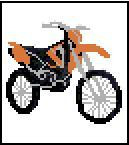 """BMX Motorcycle Crochet Afghan Graph Pattern.  All done in single crochet, changing colors as you go along.  Drop one color, pull in the next.  Medium ability.  Size works up to be approx. 40 x 60"""".  Graph is 64 stitches wide by 104 stitches high.  Then you crochet 22 rows (or more) around the outside edge including a border.  Complete instructions are included, a full size graph, and a Helpful Hints page. DOWNLOADABLE WITH ORDER CONFIRMATION OR EMAIL ME IF YOU WANT IT MAILED."""