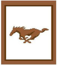 """Horse-Mustang Silhouette Crochet Afghan Graph Pattern.  All done in single crochet, changing colors as you go along.  Drop one color, pull in the next.  Medium ability.  Size works up to be approx. 40 x 60"""".  Graph is 72 stitches wide by 112 stitches high.  Then you crochet 22 rows (or more) around the outside edge including a border.  Complete instructions are included, a fll size graph, and a Helpful Hints page."""