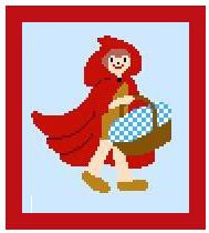 """Red Riding Hood Crochet Afghan Graph Pattern.  All done in single crochet, changing colors as you go along.  Drop one color, pull in the next.  Medium ability.  Size works up to be approx. 40 x 60"""".  Graph is 64 stitches wide by 104 stitches high.  Then you crochet 22 rows (or more) around the outside edge including a border.  Complete instructions are included, a fll size graph, and a Helpful Hints page."""