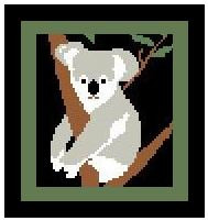 """Koala #2 Crochet Afghan Graph Pattern.  All done in single crochet, changing colors as you go along.  Drop one color, pull in the next.  Medium ability.  Size works up to be approx. 40 x 60"""".  Graph is 64 stitches wide by 104 stitches high.  Then you crochet 22 rows (or more) around the outside edge including a border.  Complete instructions are included, a fll size graph, and a Helpful Hints page."""