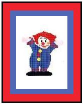 """Clown Crochet Afghan Graph Pattern.  All done in single crochet, changing colors as you go along.  Drop one color, pull in the next.  Medium ability.  Size works up to be approx. 40 x 60"""".  Graph is 64 stitches wide by 104 stitches high.  Then you crochet 22 rows (or more) around the outside edge including a border.  Complete instructions are included, a full size graph, and a Helpful Hints page."""