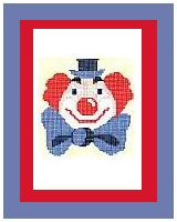"""Clown #1 Crochet Afghan Graph Pattern.  All done in single crochet, changing colors as you go along.  Drop one color, pull in the next.  Medium ability.  Size works up to be approx. 40 x 60"""".  Graph is 64 stitches wide by 104 stitches high.  Then you crochet 22 rows (or more) around the outside edge including a border.  Complete instructions are included, a full size graph, and a Helpful Hints page."""