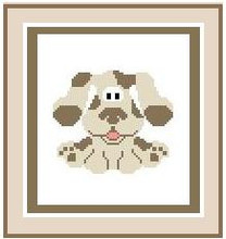 """Puppy Crochet Afghan Graph Pattern.  All done in single crochet, changing colors as you go along.  Drop one color, pull in the next.  Medium ability.  Size works up to be approx. 40 x 60"""".  Graph is 64 stitches wide by 104 stitches high.  Then you crochet 22 rows (or more) around the outside edge including a border.  Complete instructions are included, a full size graph, and a Helpful Hints page."""