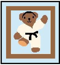 "Karate Bear Crochet Afghan Graph Pattern.  All done in single crochet, changing colors as you go along.  Drop one color, pull in the next.  Medium ability.  Size works up to be approx. 40 x 60"".  Graph is 64 stitches wide by 104 stitches high.  Then you crochet 22 rows (or more) around the outside edge including a border.  Complete instructions are included, a full size graph, and a Helpful Hints page. DOWNLOAD will come to you in a separate email after order is completed.  Or email me if you want it MAILED."