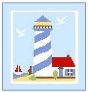 """Lighthouse #3 Crochet Afghan Graph Pattern.  All done in single crochet, changing colors as you go along.  Drop one color, pull in the next.  Medium ability.  Size works up to be approx. 40 x 60"""".  Graph is 64 stitches wide by 104 stitches high.  Then you crochet 22 rows (or more) around the outside edge including a border.  Complete instructions are included, a full size graph, and a Helpful Hints page."""