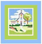 "Country Church Crochet Afghan Graph Pattern.  All done in single crochet, changing colors as you go along.  Drop one color, pull in the next.  Medium ability.  Size works up to be approx. 40 x 60"".  Graph is 64 stitches wide by 104 stitches high.  Then you crochet 22 rows (or more) around the outside edge including a border.  Complete instructions are included, a full size graph, and a Helpful Hints page."